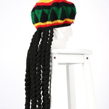 Unisex Novelty Knitted Wig Braid Hat Jamaican Bob Marley Rasta Hair Hat Beanie Multicolor Headwear Fancy Dress Tassel Hat New