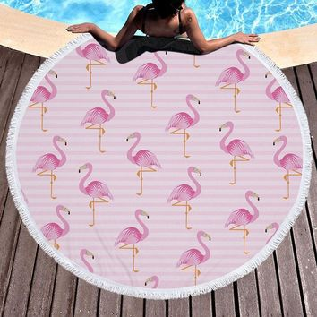 Mountec 150*150CM Flamingo Women's Beach Bikini Cover Up Round Printed Swimsuit Beach Dress Towel Sarong Mat Bathing Suit Shawl