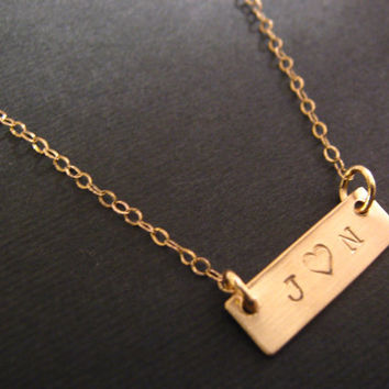 Couples Necklace, Love Necklace, Bridal Jewelry, Personalized Necklace, Rectangle Bar Necklace, Personalized Jewelry, Dainty Gold Necklace