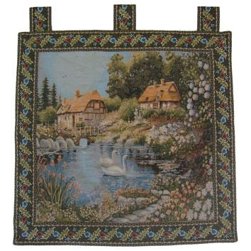 "DaDa Bedding Village Scene French Country Elegant Tapestry Wall Hanging - 36"" x 36"""
