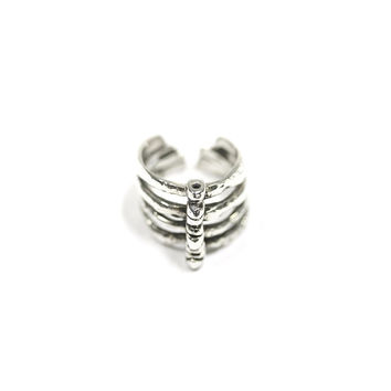Rib Cage Goth Ring, Statement Ring, in Solid Sterling Silver, Edgy Style Ring, Grunge Style Ring