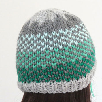 Chunky Knitted Hat, Hand Knit Beanie, Gray Green Dots,  Womens Hat, Mens Hat, Fair Isle Beanie, Winter Hat, Fall Fashion, Minimal Modern Hat