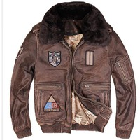 Men Vintage Brown Genuine G1 Leather Pilot Jacket Wool Collar Real