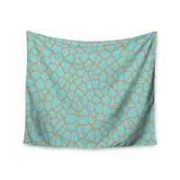 """Trebam """"Staklo III"""" Blue Brown Wall Tapestry"""