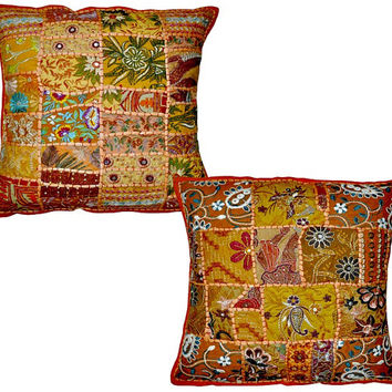 2pc Orange Decorative Throw Pillow cover, large Cushion Cover, Couch pillow, Toss Pillow , sofa pillow Vintage Cotton cushion Pillow cushion