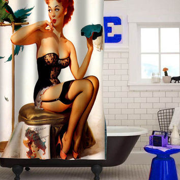 sexy vintage pin up retro girl sit shower curtain custom shower curtain