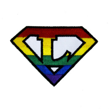 Rainbow Super L Lesbian Patch Iron on Applique Alternative Clothing