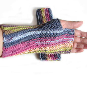 Knit armwarmers, colorful striped fingerless mittens, fingerless gloves, pink, green, brown, gray