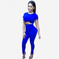 Blue Short Sleeve Cropped Top and Pants