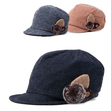 Women Baseball Cap Feamale Casual Cap Alternative Girl Cap Wool Beret Hat for Women Newsboy Retro Leaf Gatsby Cap A258