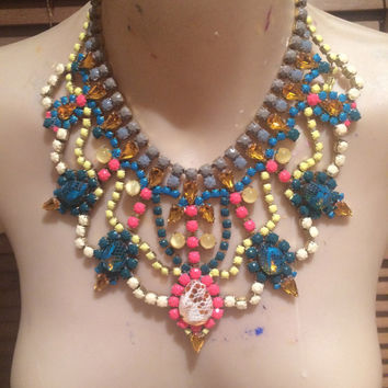 PERSIAN PRINCESS cream, blush, grey and teal painted rhinestone bib necklace