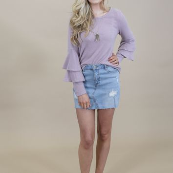 Quiet Eyes Ruffle Sleeve Sweater, Purple