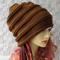 Man slouchy beanie Dreadlocks Beanie, Men Dread Hat, Man Hat Hand Knitted Tam Oversized Slouch, brown slouchy tam , Men's Hat