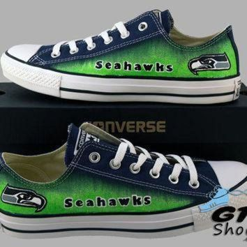 ICIKGQ8 hand painted converse low sneakers seattle seahawks go hawks football superbowl 12