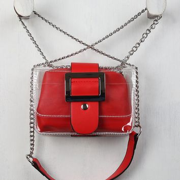 Vegan Leather Buckle Clear Crossbody Bag