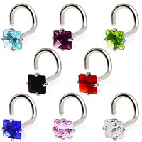 316L Surgical Steel Prong Set Square CZ Screw Nose Ring