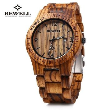 Bewell Luxury Natural Handmade Wood Watch Top Gift Auto Date Coffee Maple Wooden Watches Japnese Quartz Movement Wrist Watch for