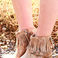 ALL I NEED FRINGE BUCKLE BOOTIES IN NATURAL