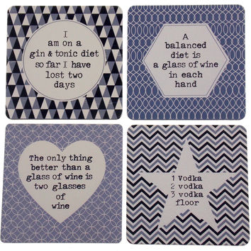 """Set 4 Gray Wood Square Bar Coasters 4"""" Assorted Alcohol Sayings Vodka Wine Gin"""