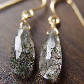 Black Rutilated Quartz Gold Earrings