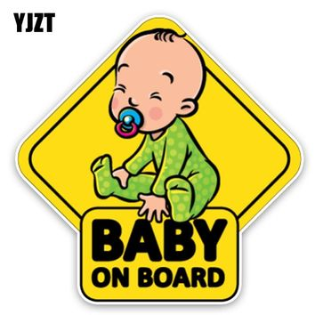 YJZT 14.7*14.7CM Car Sticker Lovely Cartoon BABY ON BOARD Colored Graphic Decoration C1-5589