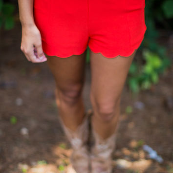 Scalloped Trim Shorts in Red