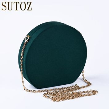 Retro Velour Round Clutch Woman Bag Small Crossbody Evening Bags for Ladies Pouch Messenger Velvet Chain Party Bags Purse BA427