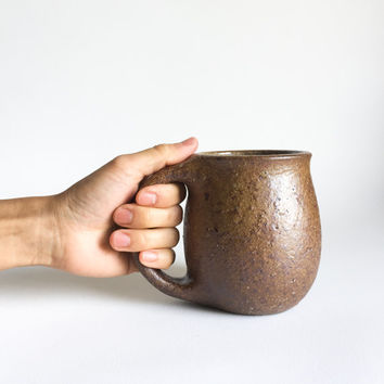 RUSTIC BROWN MUG 16 oz, ceramic, ceramics, pottery, handmade, coffee, tea, hot, cocoa, milk, water, chai, latte, juice, beer, mugs