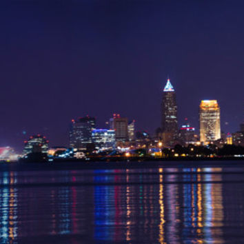 Cleveland Skyline at night. Architecture large format print. landscape. 12x18. 12x34. 16x24 metallic print
