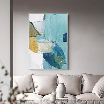 Abstract Painting Nordic style acrylic blue yellow painting on canvas Wall art Pictures modern art home decor original painting hand painted