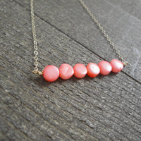 14k gold filled pink coral coin bead bar necklace / bridesmaid / minimalist necklace / dainty necklace / October birthstone necklace