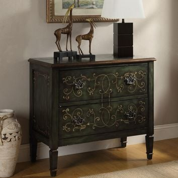Antique green finish wood 2 drawer hall entry table console with 2 drawers and a decorative front design
