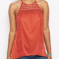 Burnt Orange Sharkbite Crochet Tank Top | Casual Tank Tops | rue21