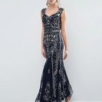 Frock and Frill Plunge Back Embellished Maxi Dress at asos.com