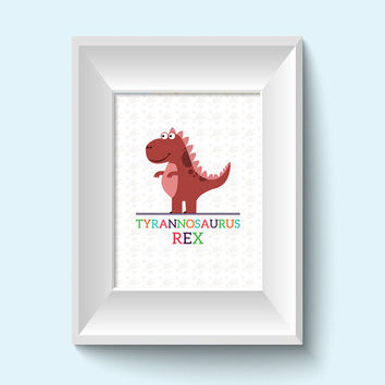 Kids Wall Art / Dinosaur Children's Decor / 8x10 Child Decor Dino Prints / T-Rex / Boys Room Decor