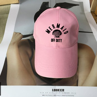 Mermaid Off Duty Black Pink White - Baseball Cap, Tumblr hat , Dad Hat Dad Cap Baseball Hat Baseball Cap , Low-Profile Baseball Cap Hat