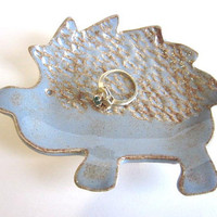 Ceramic Hedgehog spoon rest,  dusty blue ring holder bowl,  jewelry dish, candle holder, soap dish, handmade  pottery,