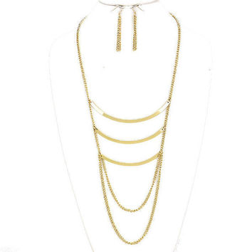 Gold Curved Triple 3 Bar Chain Draped Necklace & Earring Set
