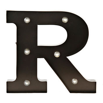 Bronze Metal LED Monogram R Plaque