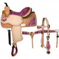 15 inch Pink Zebra Print Sadde Set, girls saddle saet, saddle set With Headstall and Breastcoll