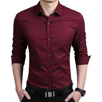 Mens Dress Shirts Spring Autumn New Cotton Long Sleeve Business Men Shirt Slim Polka Dot