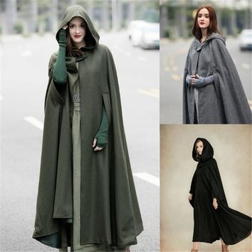 Women Maxi Hooded Wool Coat Cloak Maxi Cashmere Cape Hooded Cape S-2XL Cosplay