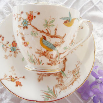Downton Abbey Antique Royal Grafton Birds on Branches Footed Tea Cup and Saucer Set, Cottage Style, French Country