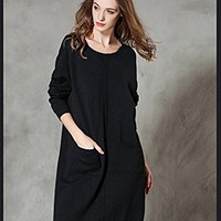 Women's Dress Long Sleeve Autumn Spring Casual Loose Fitting Plus Size