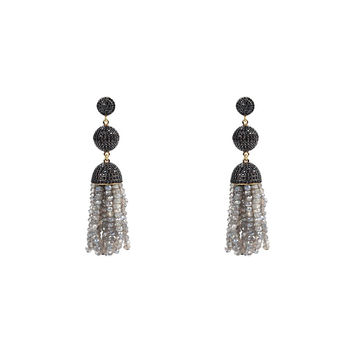 Tassel Ball Earring Labradorite with Black Top