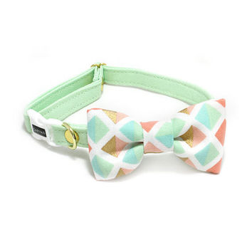Carrie Spring Cat Bow Tie Collar - Mint Geometric - Breakaway Safety Buckle - Sizes for Cat, Kitten, Dog