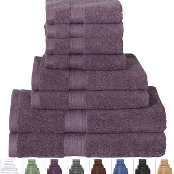 Plum Purple 100-Percent Cotton Bath Towel Set - Machine Washable