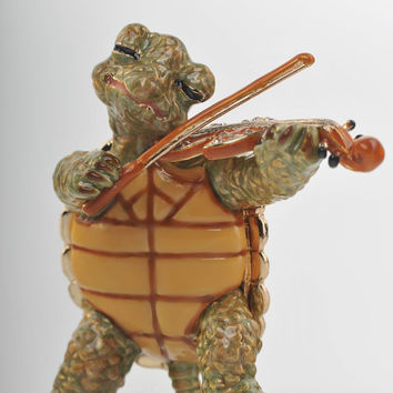 Turtle Playing the Violin Faberge Styled Trinket Box Handmade by Keren Kopal Enamel Painted Decorated with Swarovski Crystals
