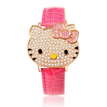 Women Watches Children Watches Hello Kitty Printing Strap Cartoon Kids Watch Pink Red Wristwatch Clock saat relogio relojes
