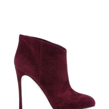 Gianvito Rossi Burgundy Suede Ankle Boots - ShopBAZAAR